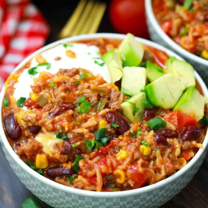 Mexican casserole in a serving bowl