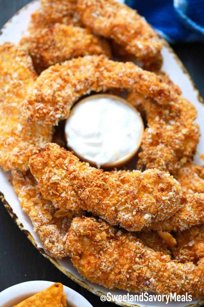 crispy Dorito chicken with sauce