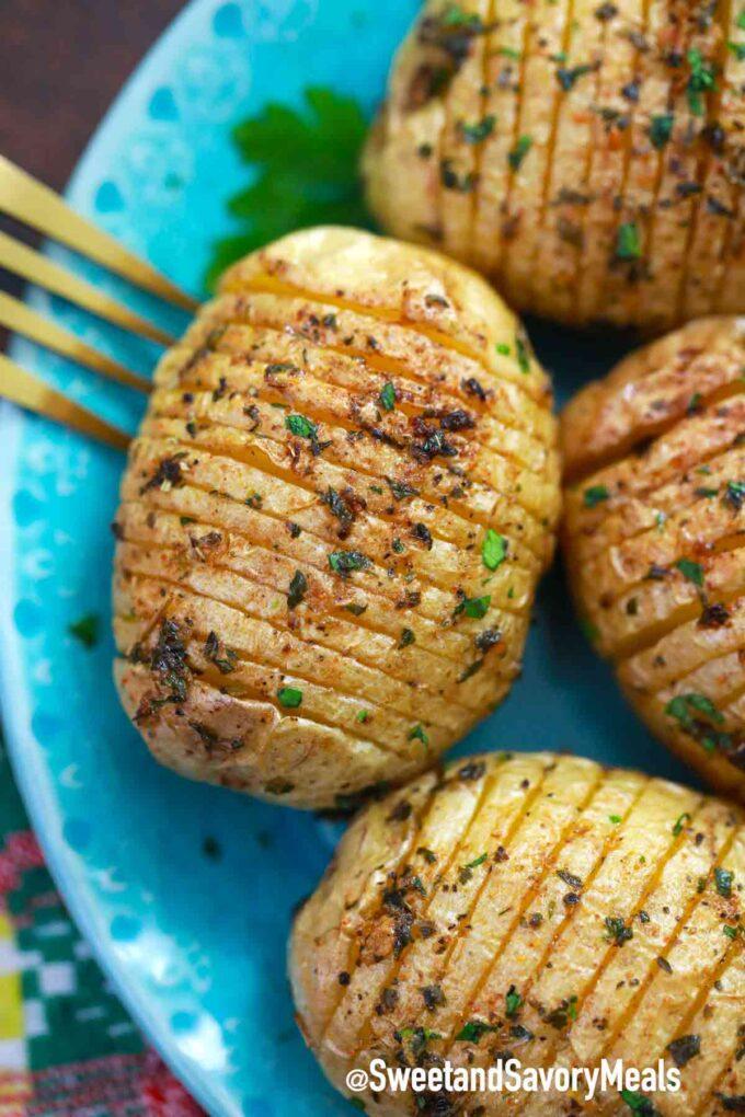 air fried hasselback potatoes