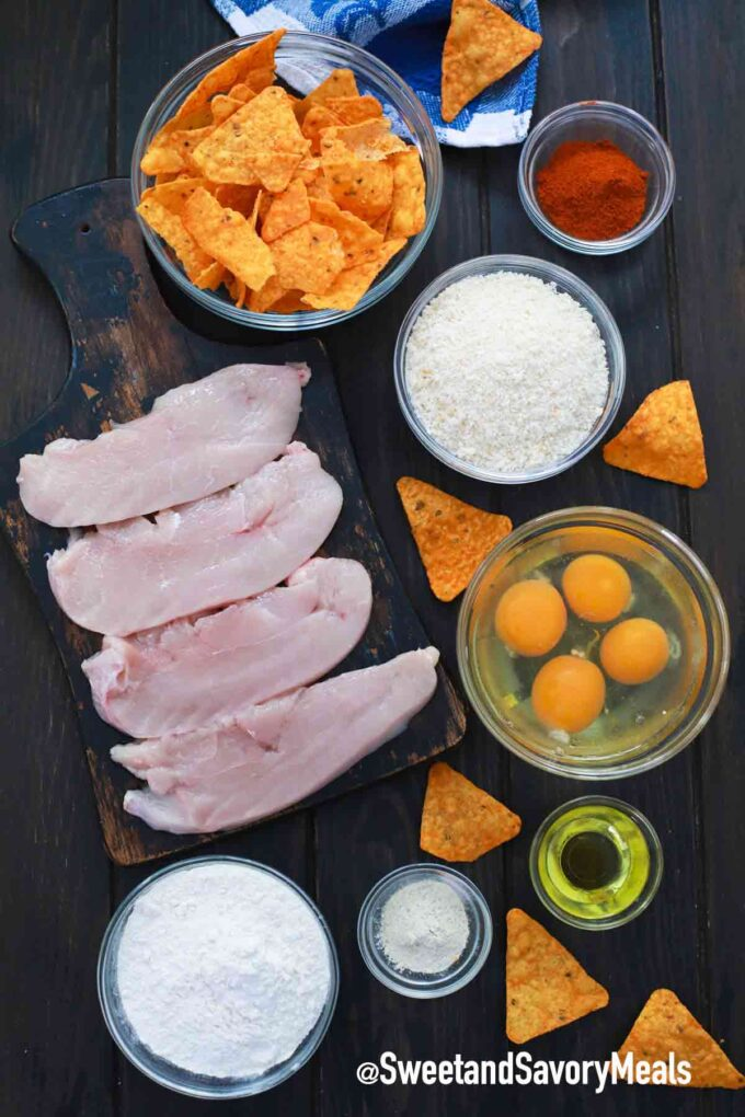 air fryer Dorito chicken ingredients on a table