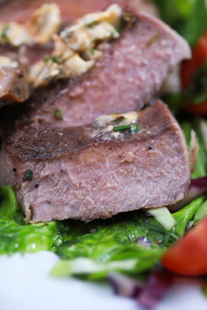 sliced air fried ribeye steak