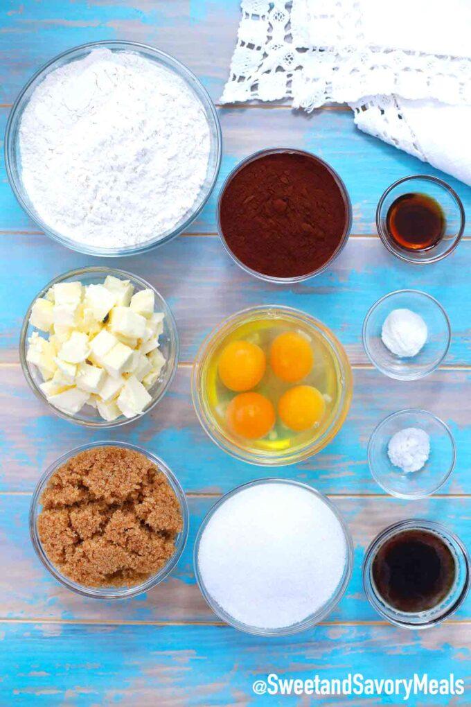 brownie bites ingredients on a blue table