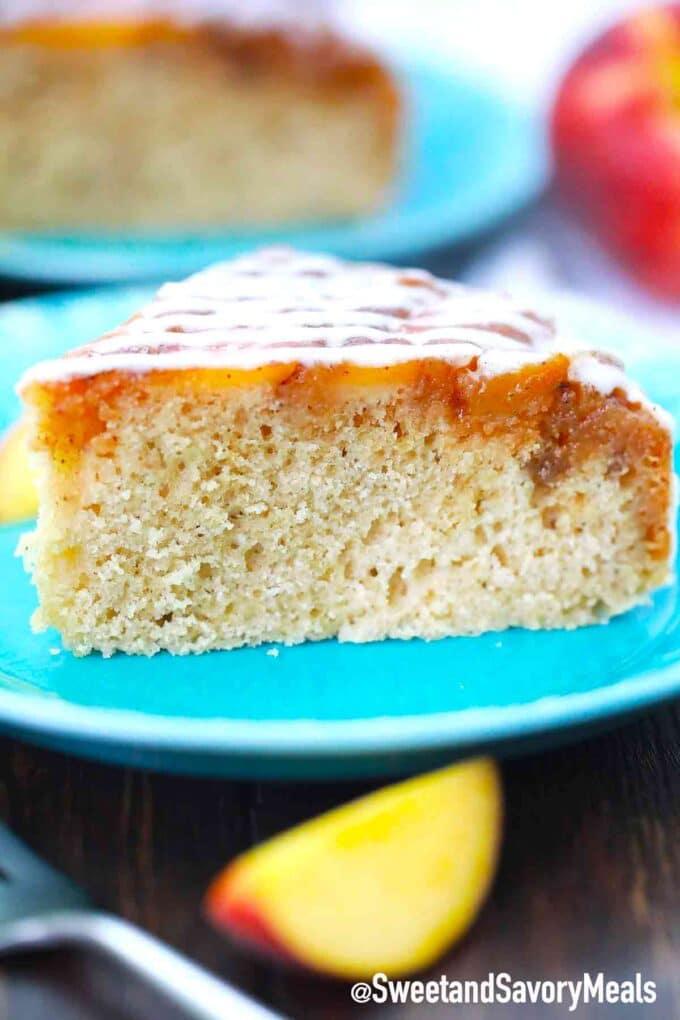 slice of peach upside down cake