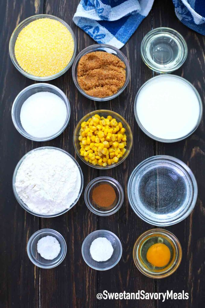 instant pot cornbread ingredients on a wooden table