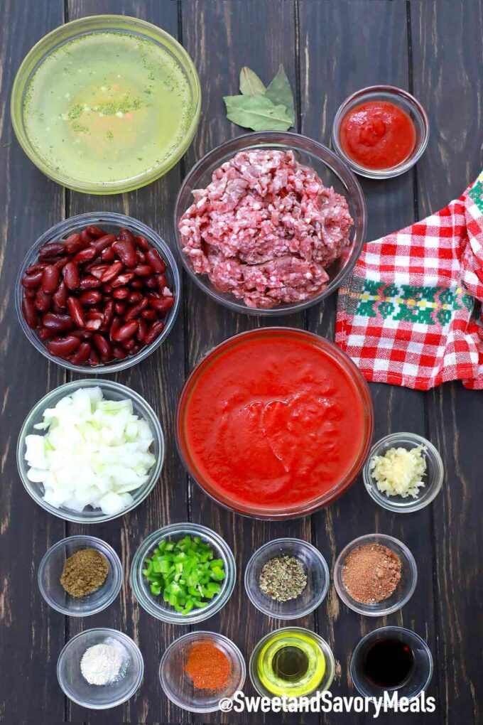 instant pot mexican chili ingredients on a wooden table