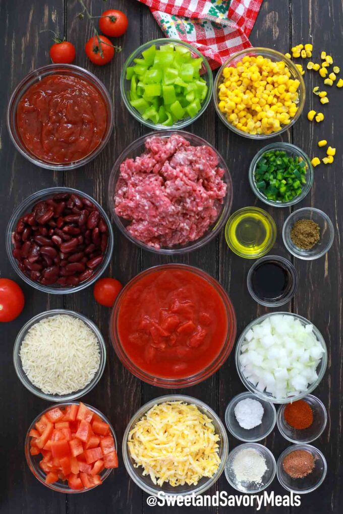 instant pot Mexican Casserole ingredients