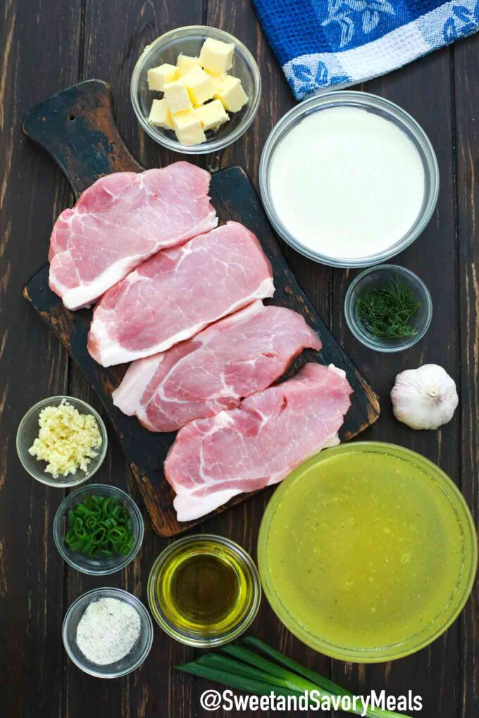 ranch pork chops ingredients on a table