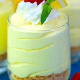 lemon mousse in a serving glass