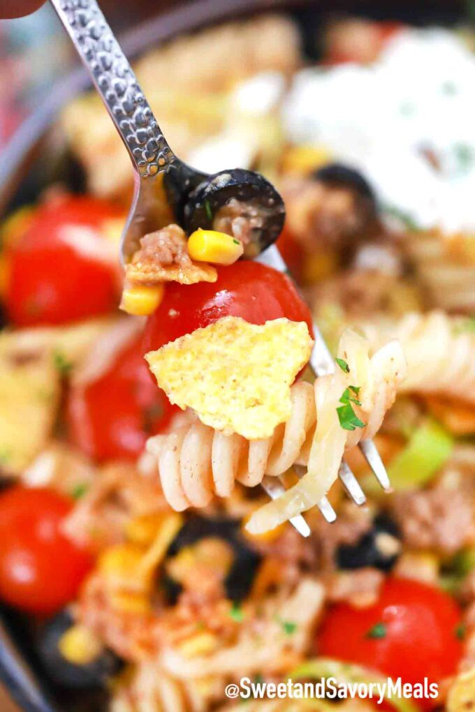 taco pasta salad on a fork