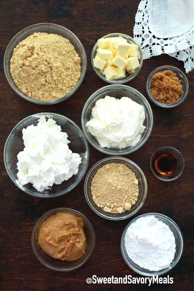 peanut butter pie ingredients on a table
