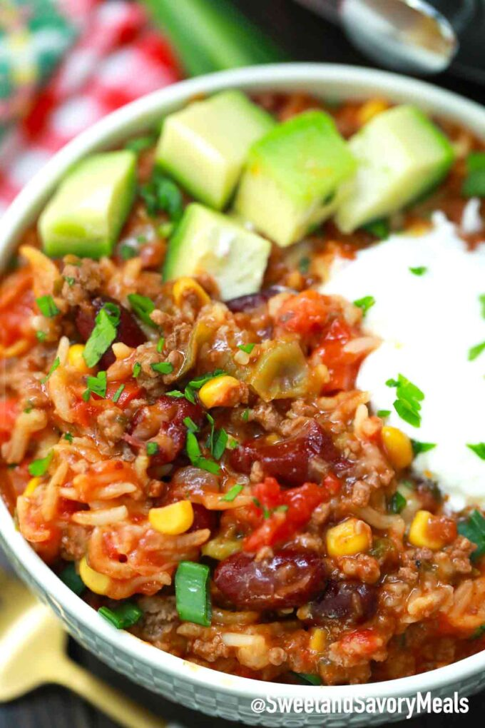pressure cooker Mexican Casserole with toppings