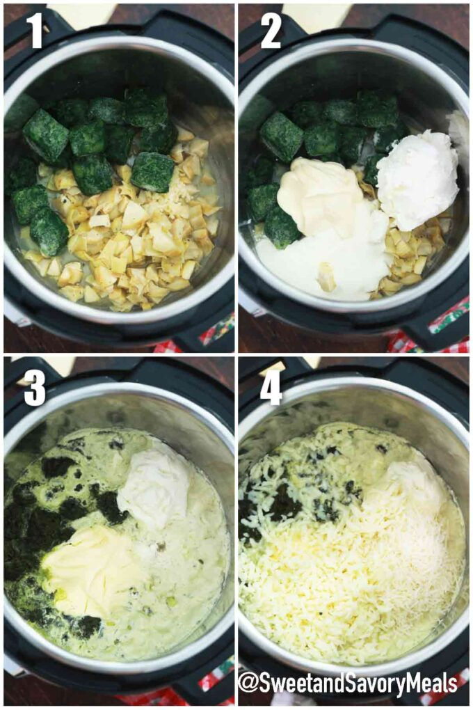 steps how to make instant pot spinach artichoke dip