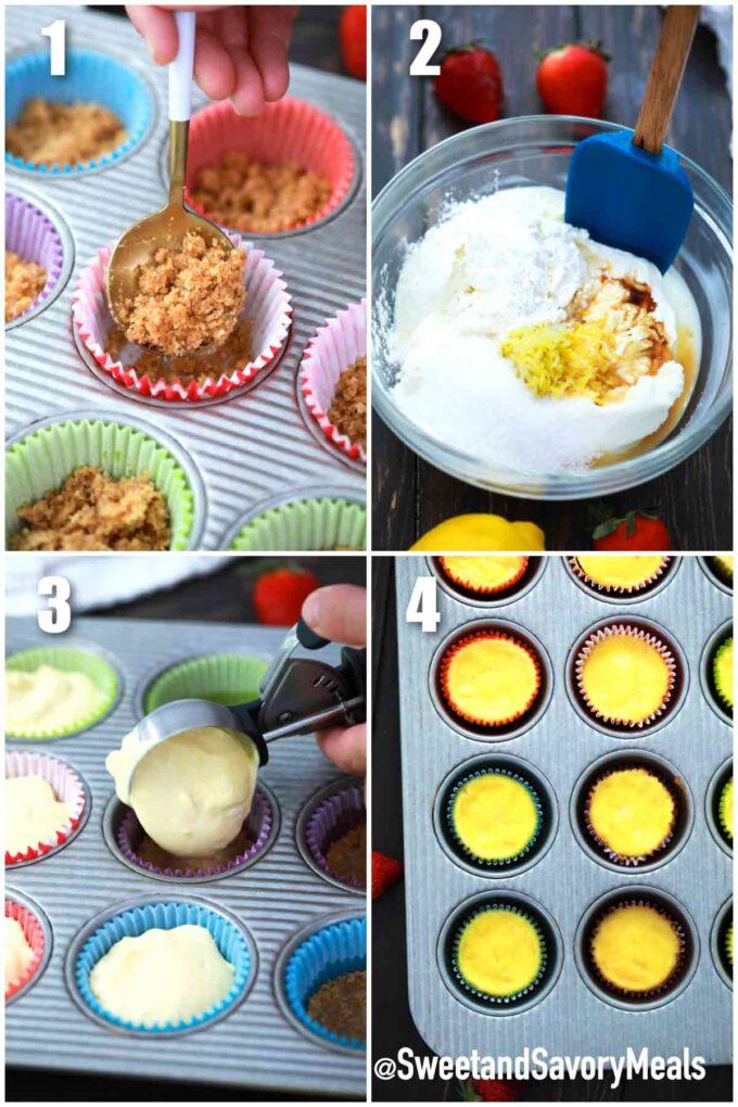 steps how to make mini cheesecakes
