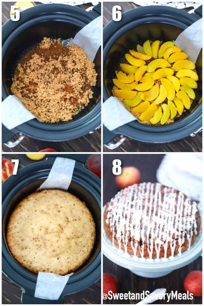 how to make slow cooker peach upside down cake