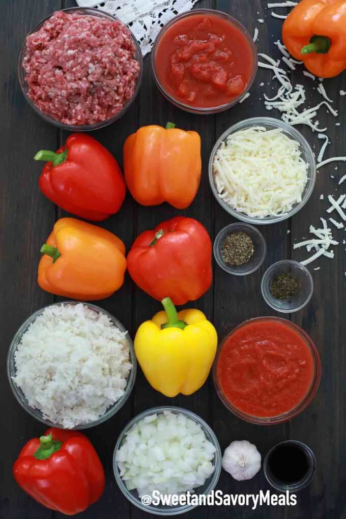 air fryer stuffed peppers ingredients on a table