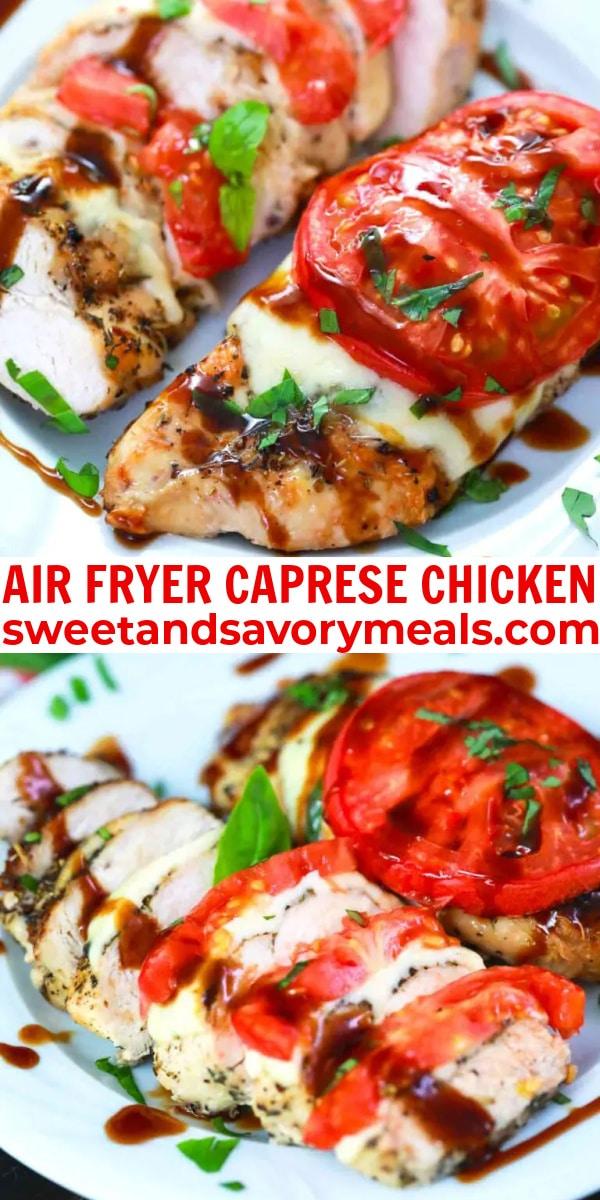 easy air fryer caprese chicken pin