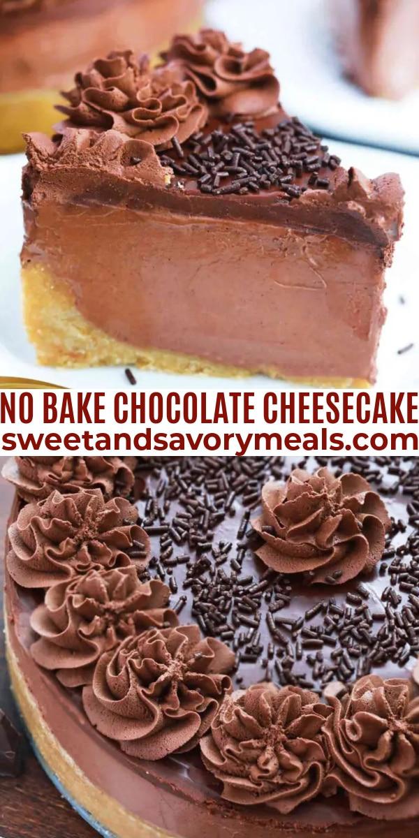 easy no bake chocolate cheesecake pin