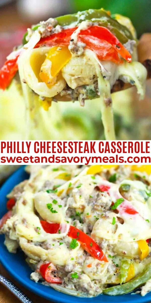 easy philly cheesesteak casserole pin