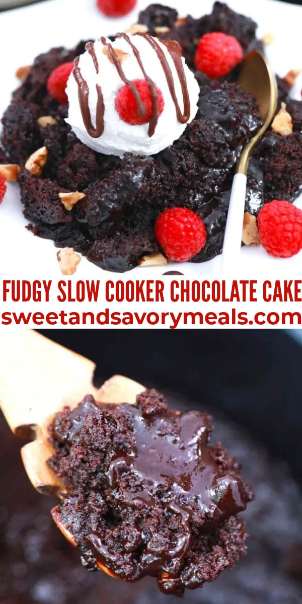 easy fudgy slow cooker chocolate cake pin