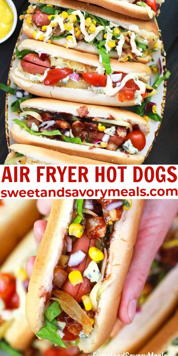 easy air fryer hot dogs pin