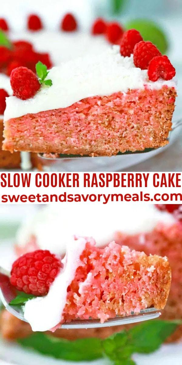 easy slow cooker raspberry cake pin