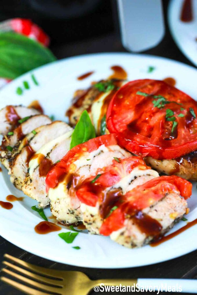 sliced air fryer caprese chicken breast