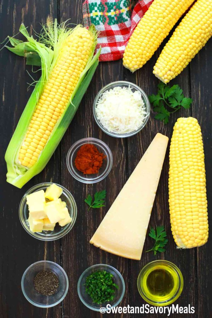 air fryer corn ingredients on a table