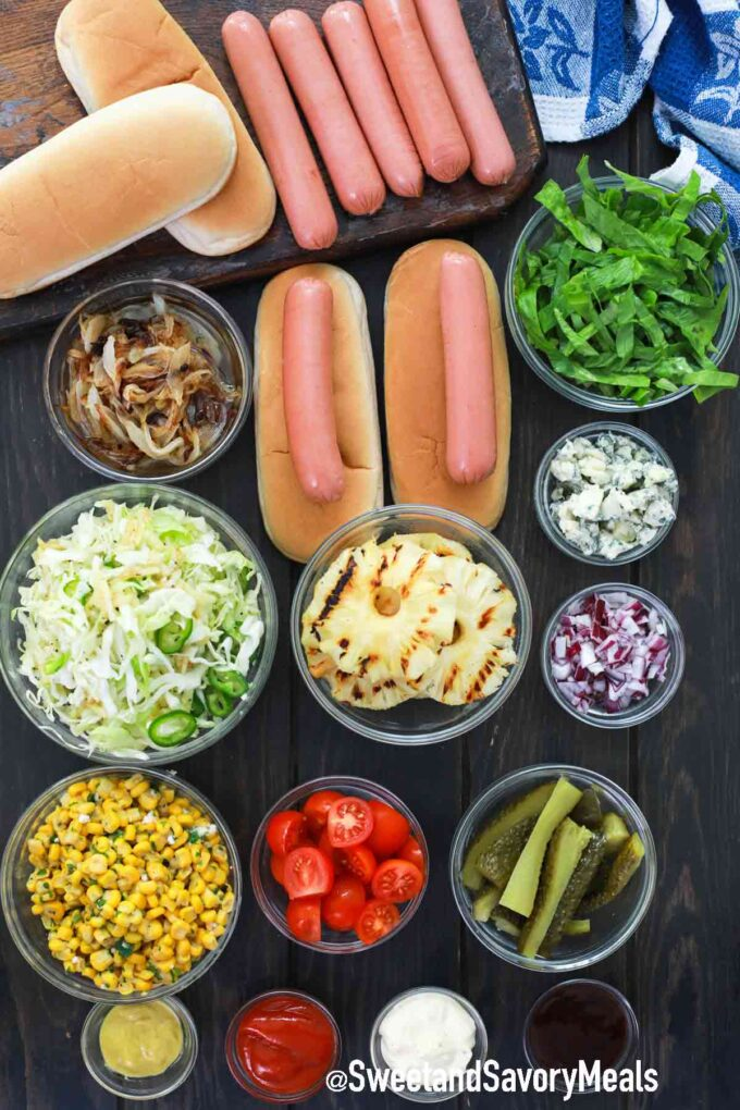 air fryer hot dogs ingredients on a wooden table