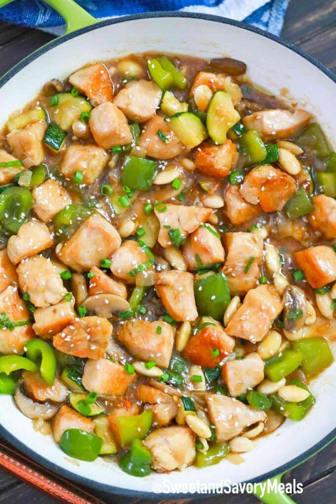 almond chicken in a pan