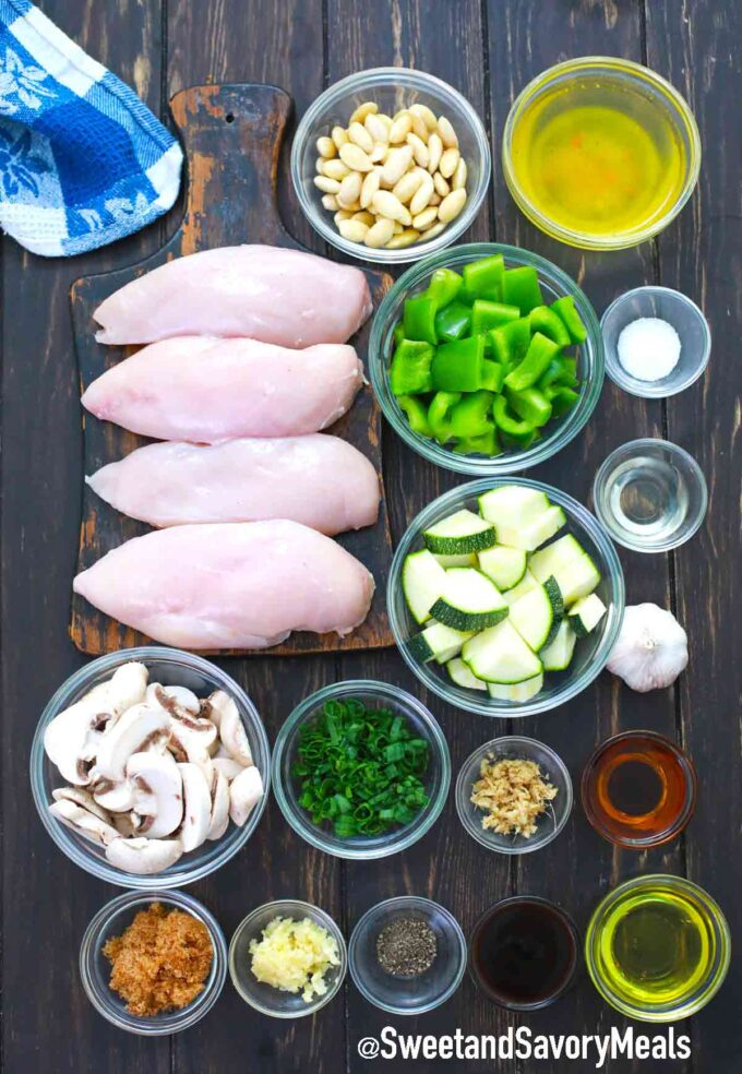 almond chicken ingredients on a wooden table