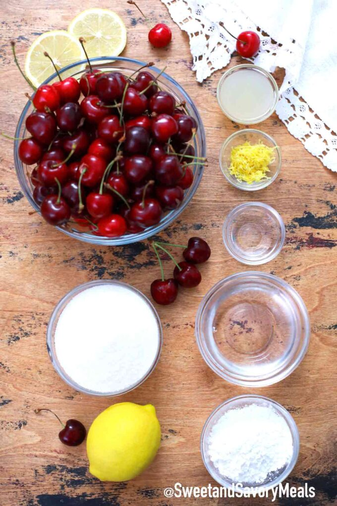cherry pie filling ingredients on a wooden table