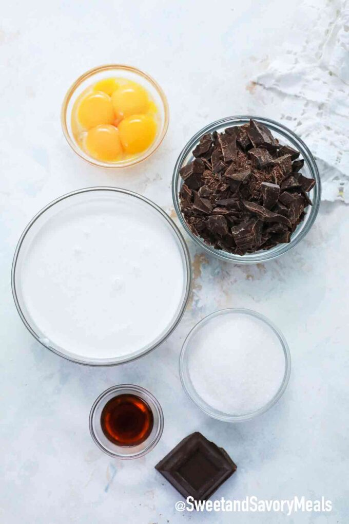 chocolate mousse ingredients on a white table