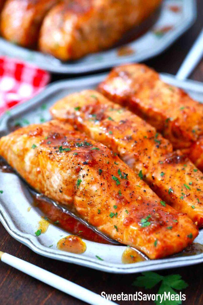 honey garlic salmon on a plate