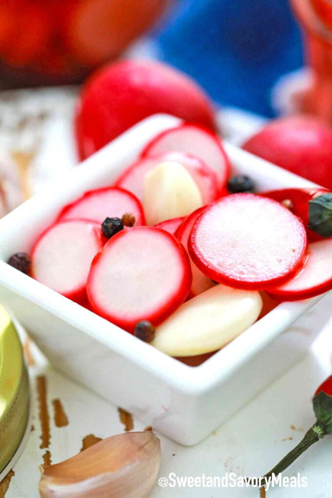 pickled radishes in a serving bowl