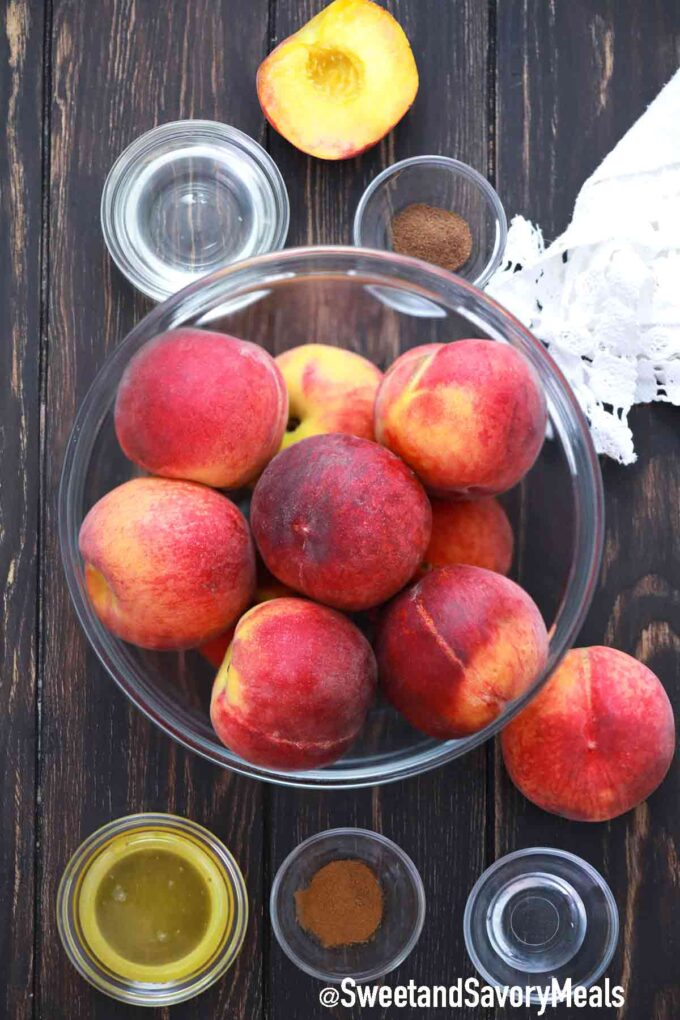 grilled peaches ingredients on a wooden table