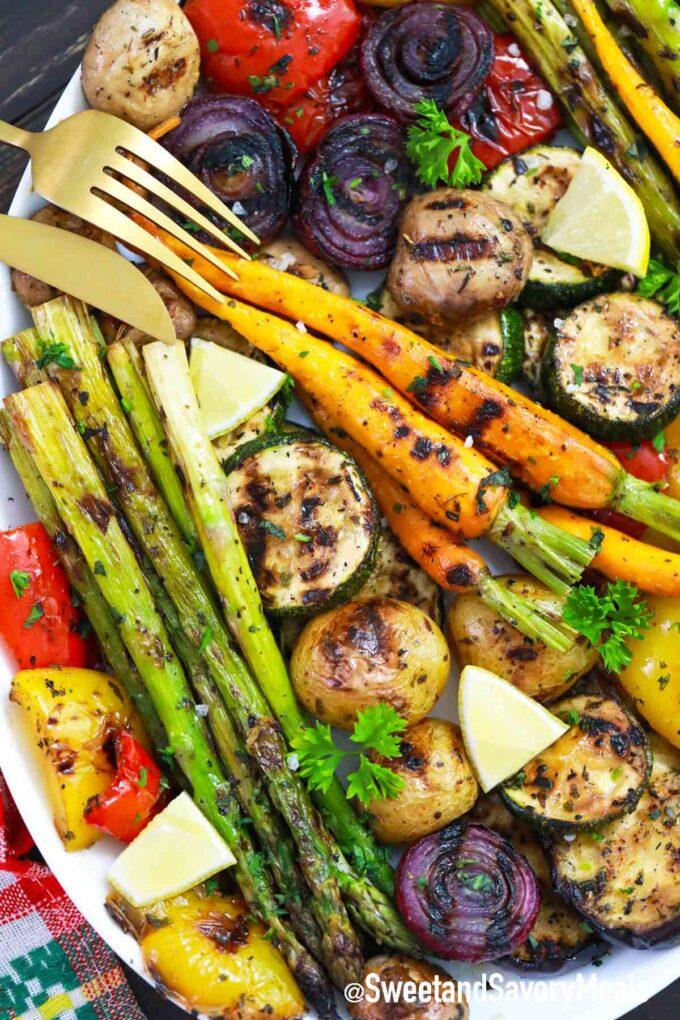 platter with grilled vegetables