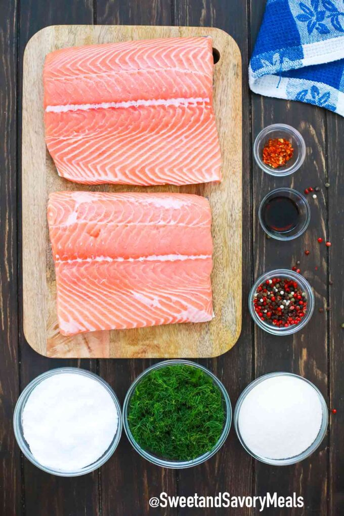 homemade lox ingredients on a wooden table