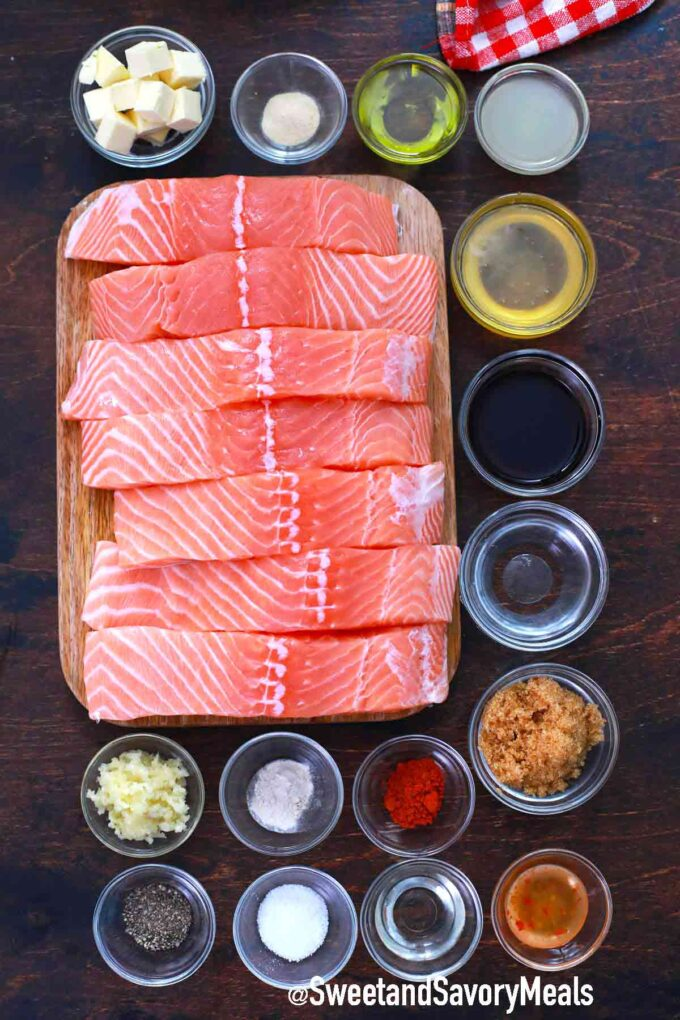 honey garlic salmon ingredients on a wooden table