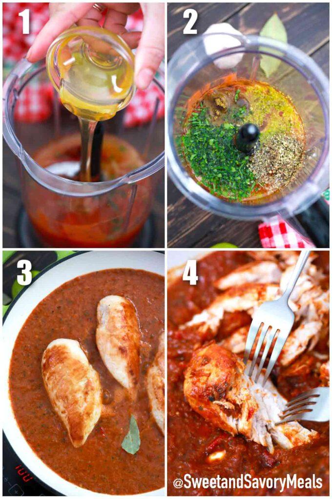 steps how to make Tinga de pollo