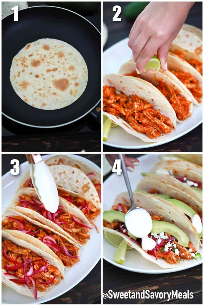 steps how to make Chicken Tinga tacos