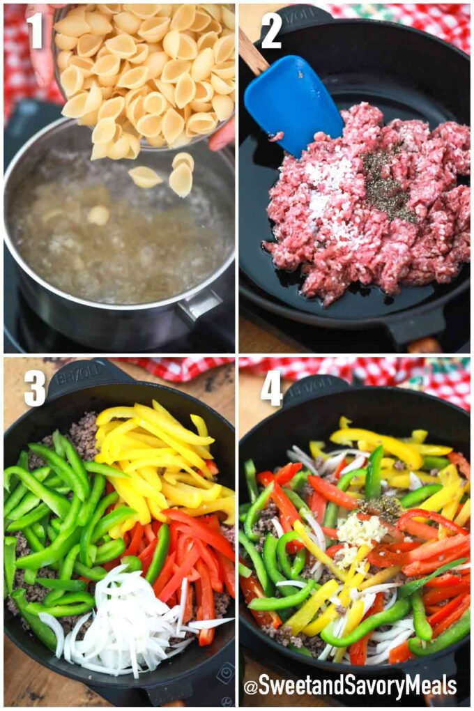 steps how to make Philly cheesesteak casserole