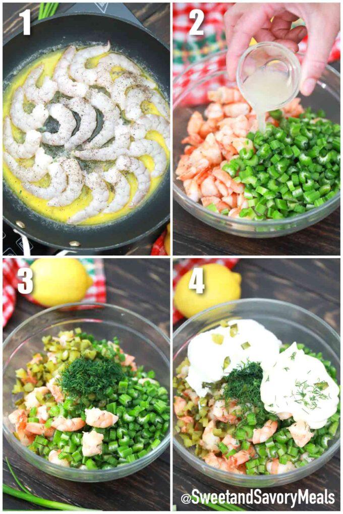 steps how to make the filling for shrimp rolls