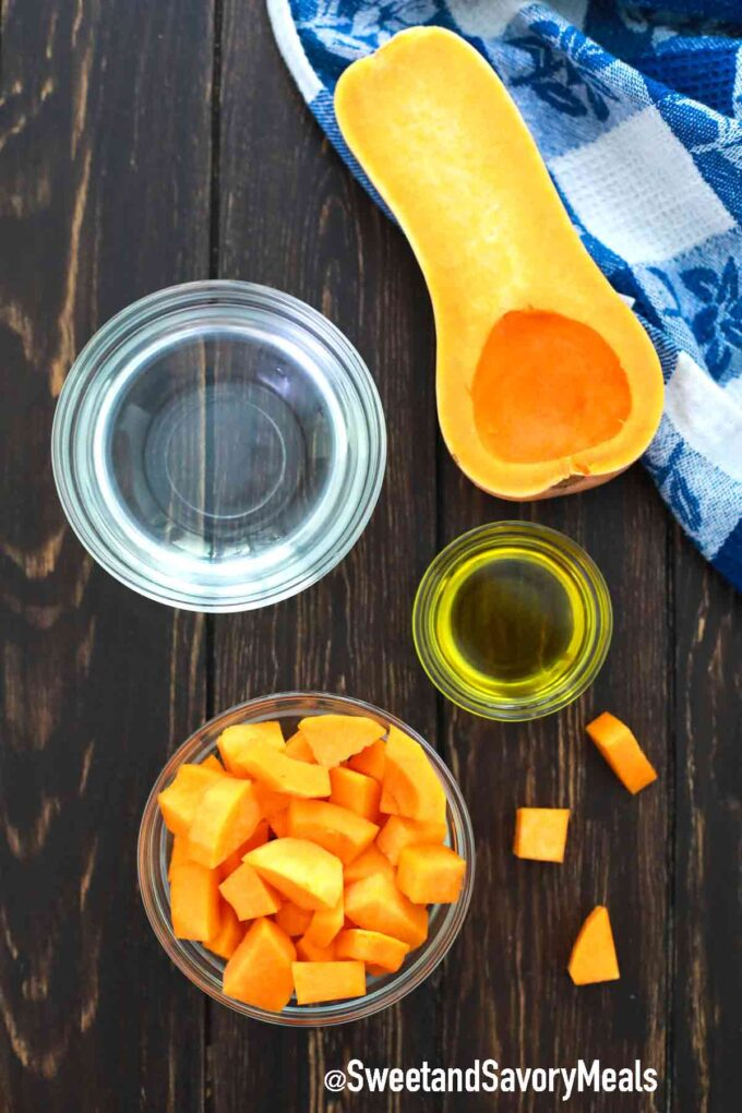 instant pot butternut squash ingredients on a table
