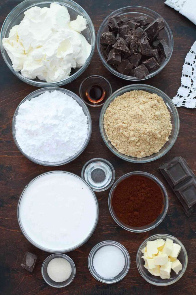 no bake chocolate cheesecake ingredients on a wooden table