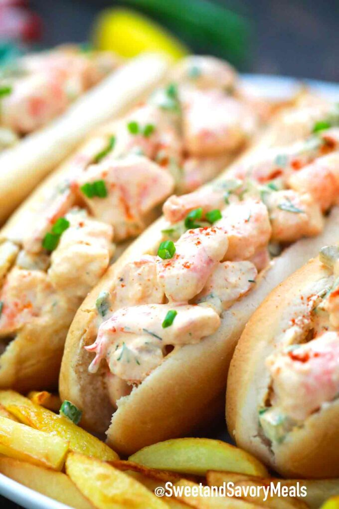 shrimp rolls with fries