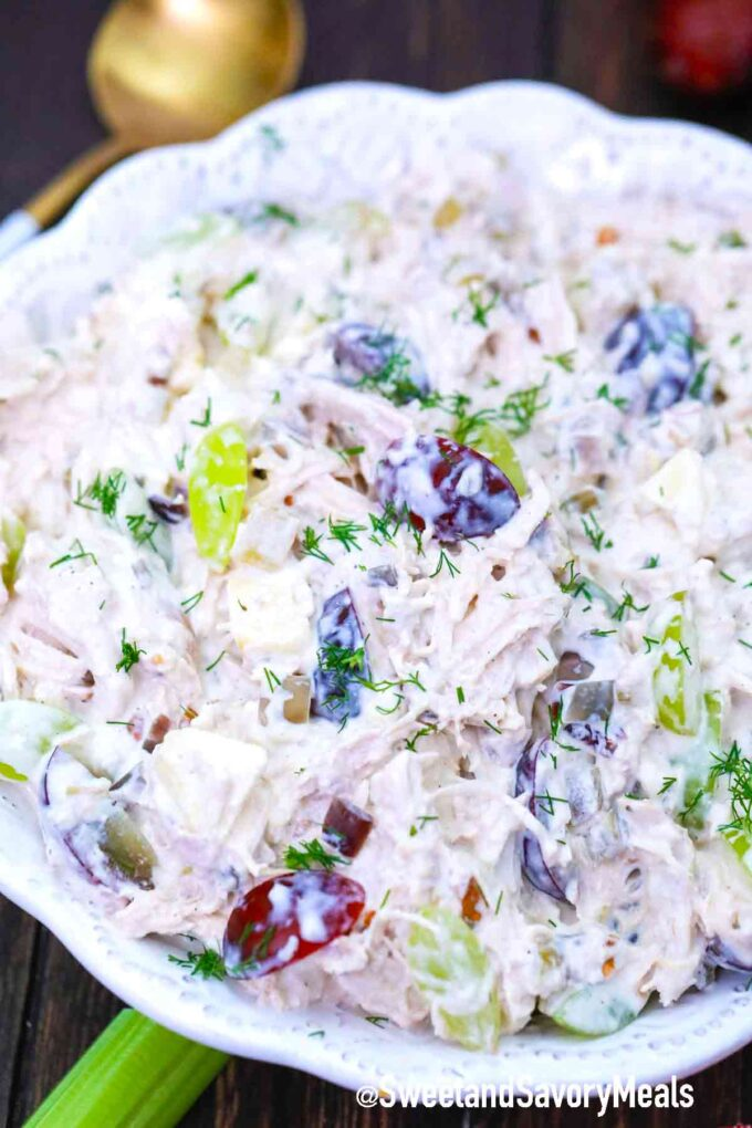 chicken salad in a large white bowl