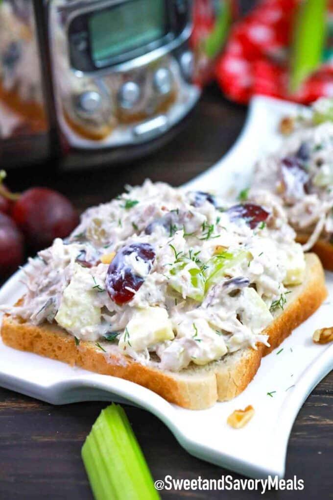crockpot chicken salad open faced sandwich