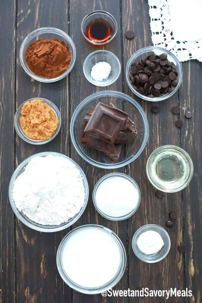 slow cooker chocolate cake ingredients on a wooden table