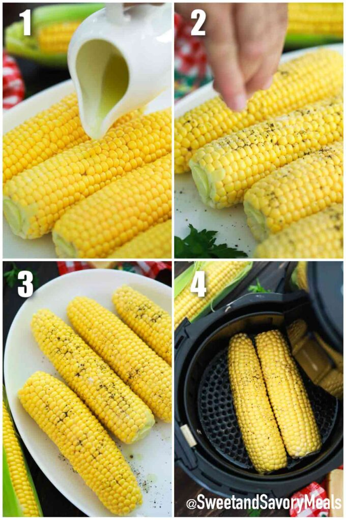 steps how to make air fryer corn on the cob