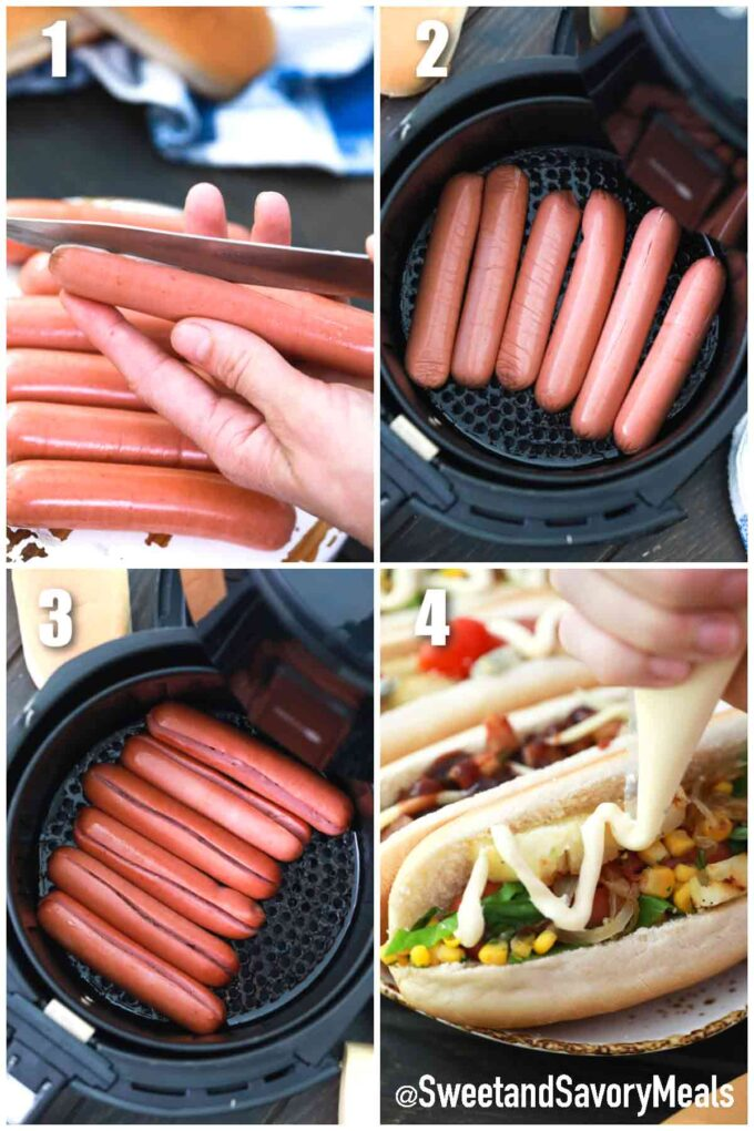 steps how to make air fryer hot dogs